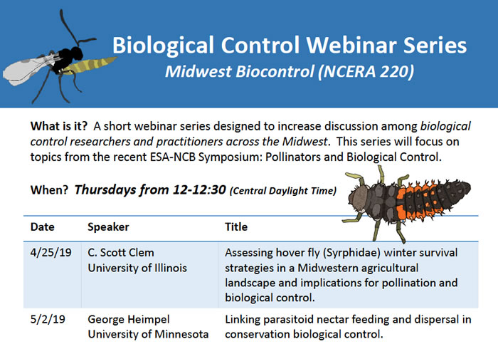Webinar Series on interaction between pollination and biological control during April and May 2019 - anyone can join!