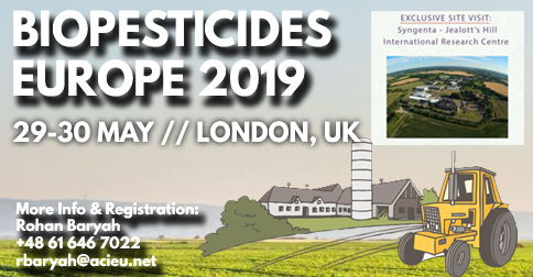 Biopesticides Europe 2019, 4th Biopesticides Europe Conference, 29-30 May 2019, London, UK
