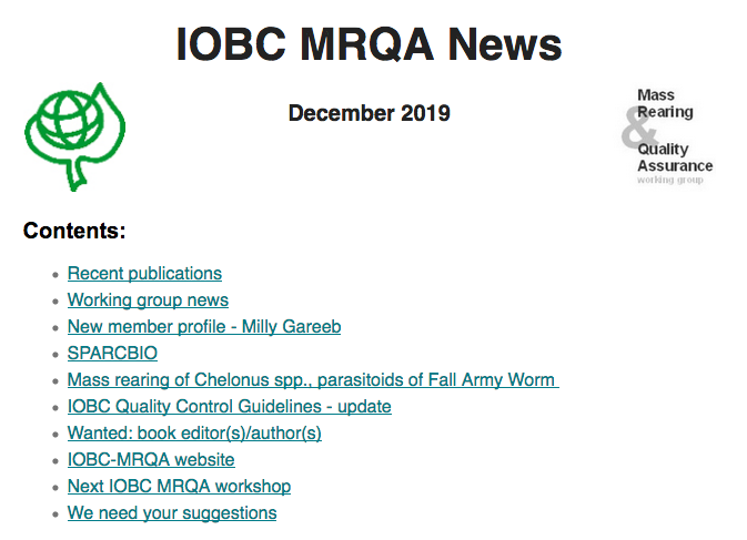"Latest news of the Global Working Group ""Mass Rearing and Quality Assurance (MRQA)"", December 2019"